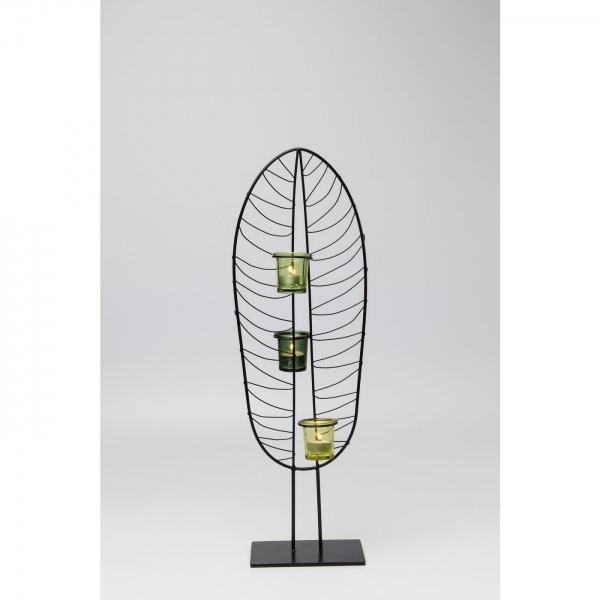 Svícen na čajovou svíčku Leaf Wire 67 cm