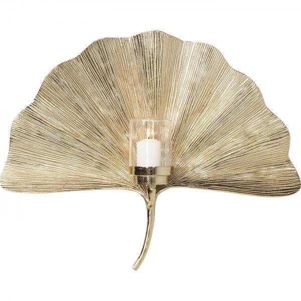 Svícen na čajovou svíčku na zeď Ginkgo Leaf 60 cm