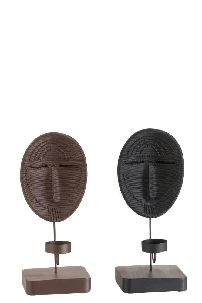 Svietnik na čajovú sviečku maska Ethnic čierny / hnedý 2 ks - 10,5 * 12 * 26,5 cm