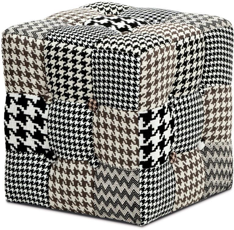 Taburet kocka, látka čiernobiela patchwork, klzáky plast