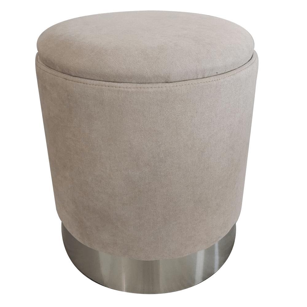 Taburet s úložným priestorom, hnedosivá TAUPE látka/strieborná chróm, DARON