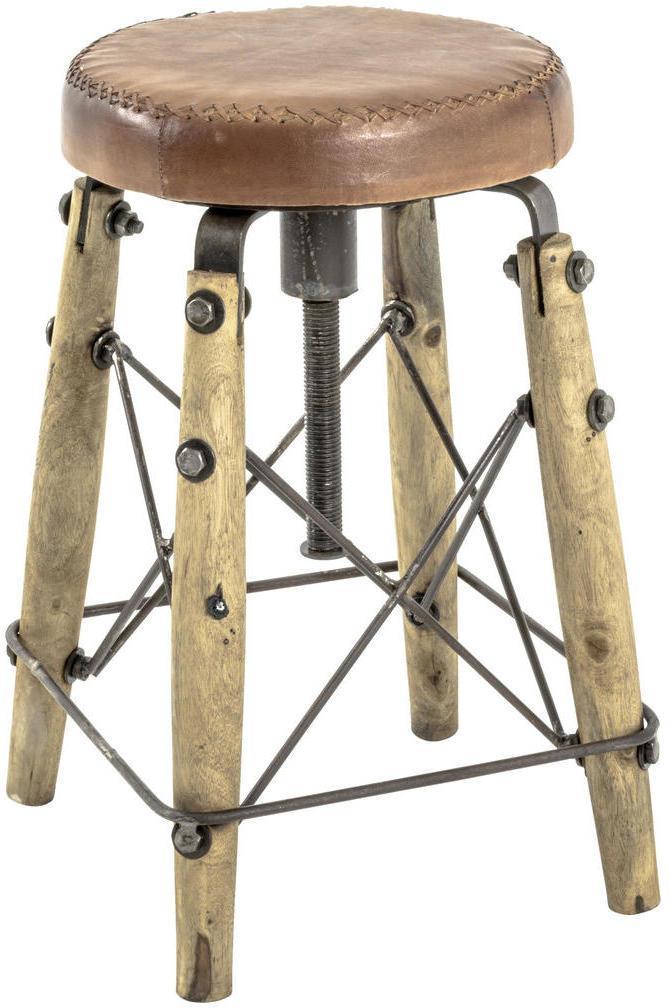 TABURETKA, drevo, kov, koža, 35/54-74/35 cm - hnedá, prírodné farby