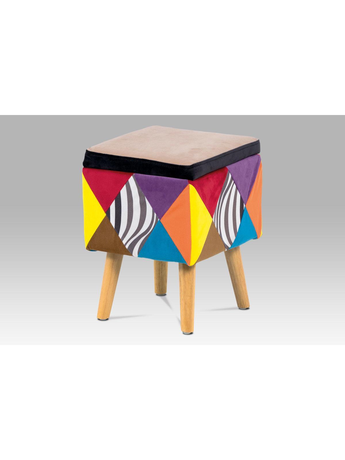Taburetka s drevenou podnožou Art patchwork