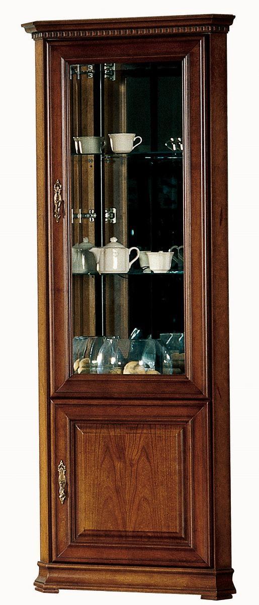 TARANKO Raweno R-W/N rustikálna rohová vitrína s osvetlením toffi