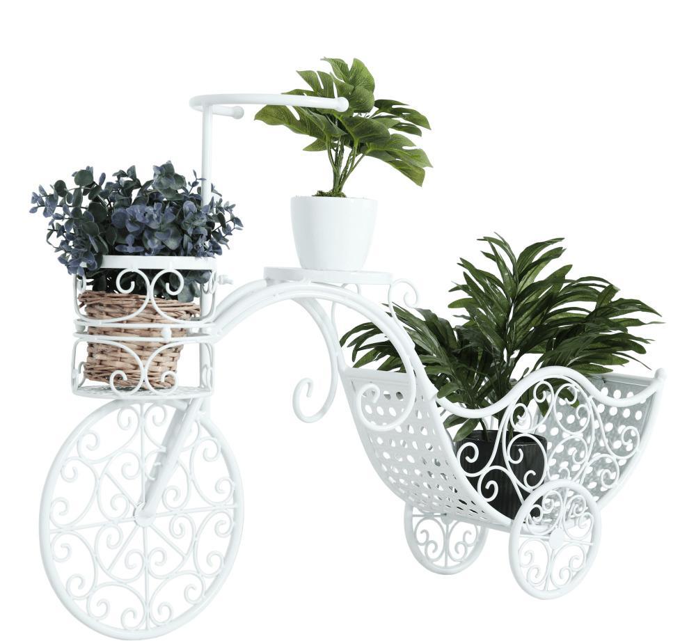 Tempo Kondela ALENTO RETRO kvetináč v tvare bicykla biela 55x80x20 cm