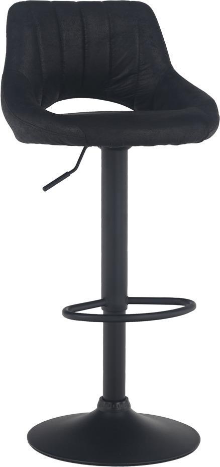 TEMPO KONDELA Barová stolička, čierna látka s efektom brúsenej kože, LORASA