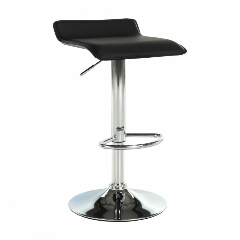 TEMPO KONDELA Barová stolička, ekokoža čierna/chróm, LARIA NEW