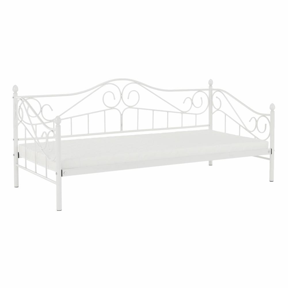 KONDELA Daina kovová jednolôžková posteľ s roštom biela