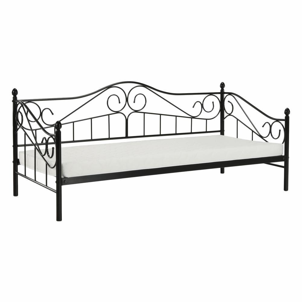 KONDELA Daina kovová jednolôžková posteľ s roštom čierna