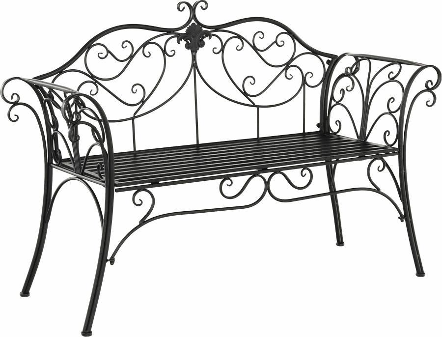 Tempo Kondela ETELIA Záhradná lavička čierna 89x131x49 cm