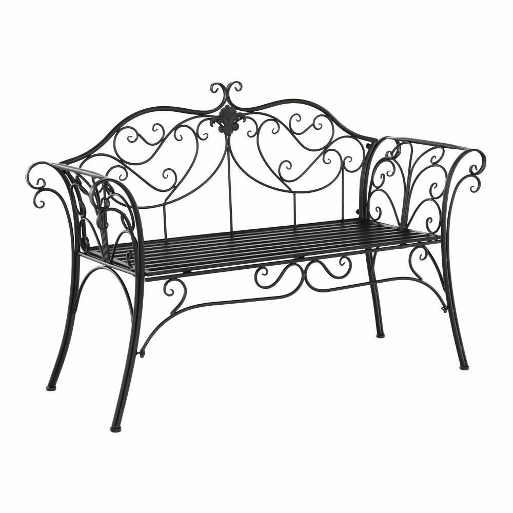 KONDELA Etelia záhradná lavička čierna