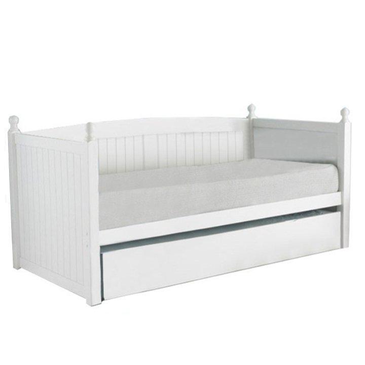 KONDELA Glamis 90 drevená rozkladacia posteľ s prísteľkou biela