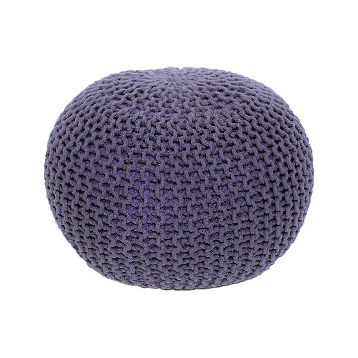 TEMPO KONDELA Gobi Typ 2 pletená taburetka fialová