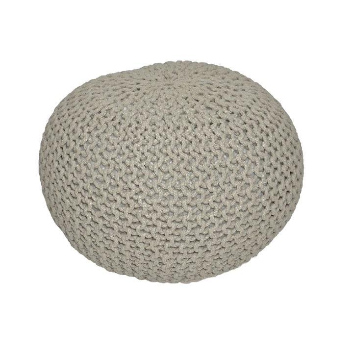 TEMPO KONDELA Gobi Typ 2 pletená taburetka hnedosivá