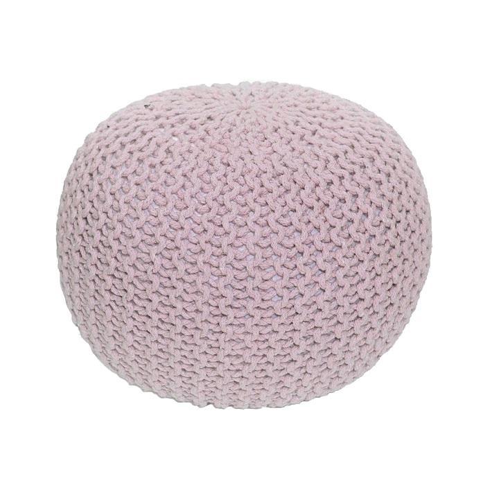 TEMPO KONDELA Gobi Typ 2 pletená taburetka púdrová ružová