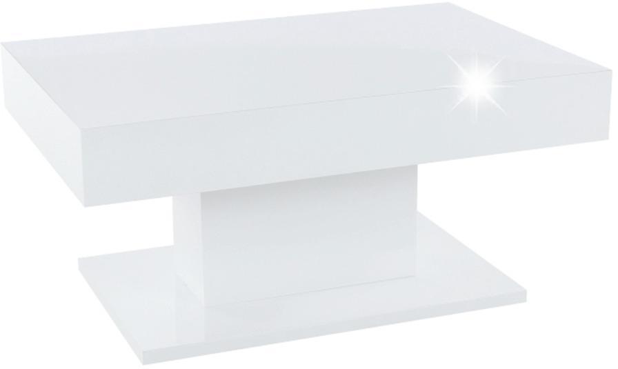 TEMPO KONDELA Konferenčný stôl s úložným priestorom, biela vysoký lesk, DIKARO