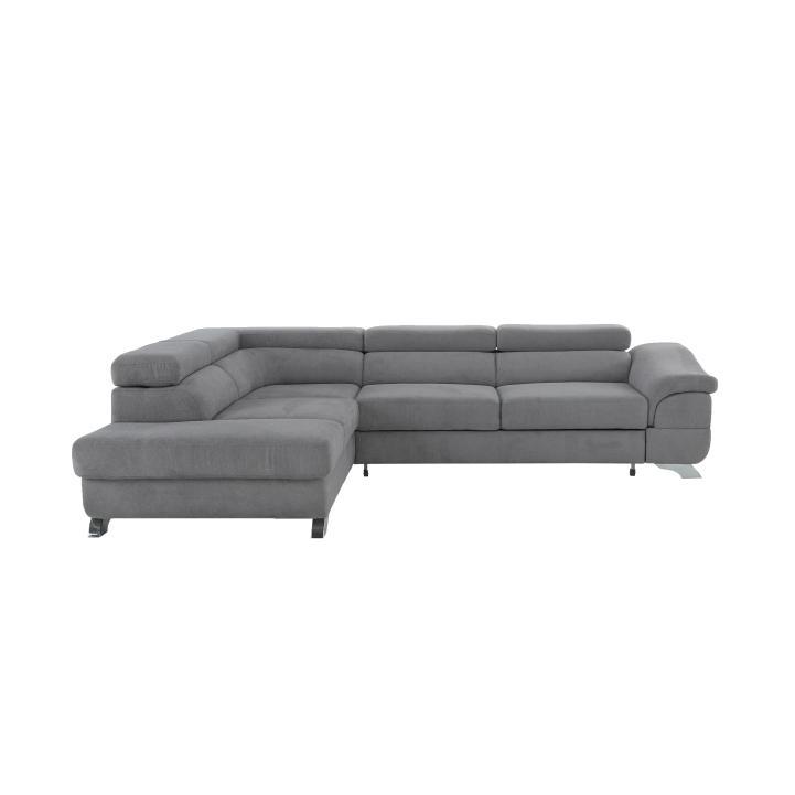 KONDELA Legas L rohová sedačka s rozkladom a úložným priestorom sivá