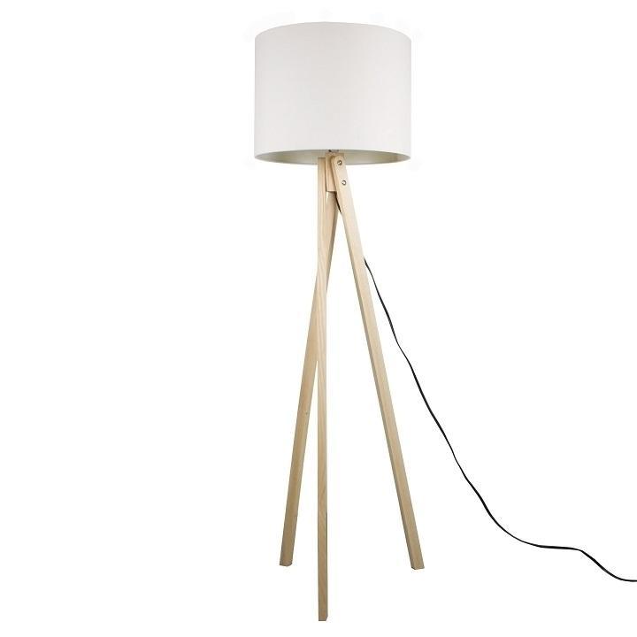 KONDELA Lila Typ 6 stojacia lampa biela / prírodná