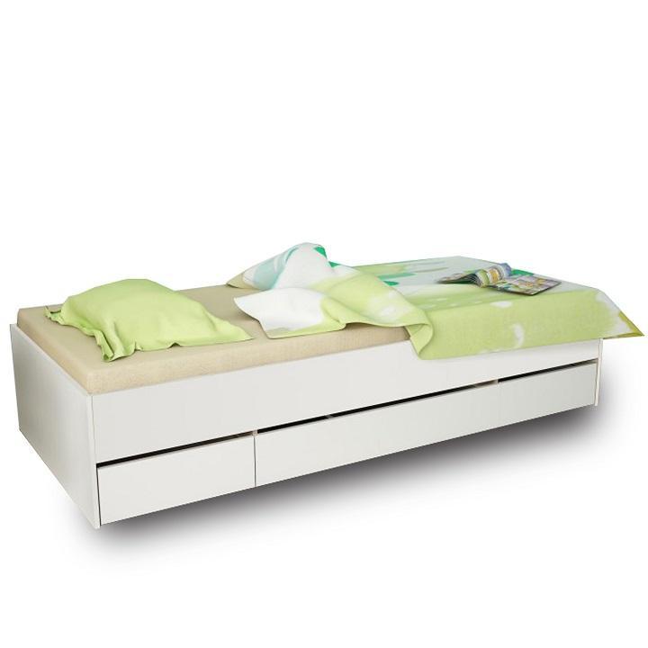 KONDELA Matiasi 90 jednolôžková posteľ s úložným priestorom biela