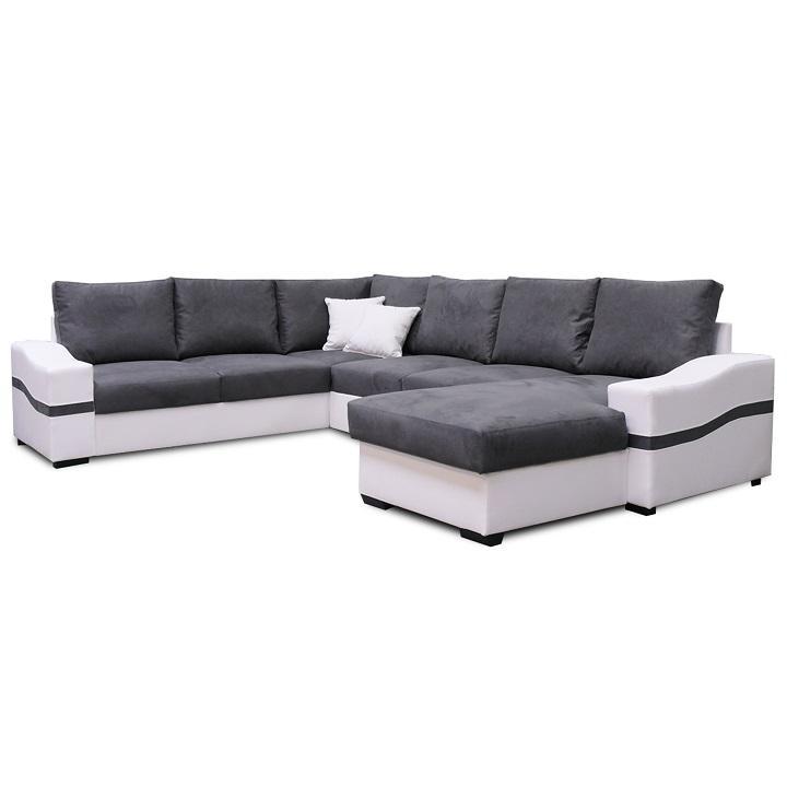 KONDELA Oregon L rohová sedačka u s rozkladom biela / sivá