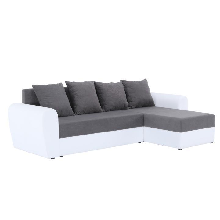 TEMPO KONDELA Oxford L/P rohová sedačka s rozkladom a úložným priestorom biela / sivá