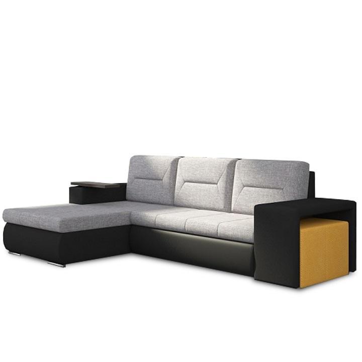 Rozkladacia sedacia súprava, čierna/sivá/horčicová, ľavá, OBAN