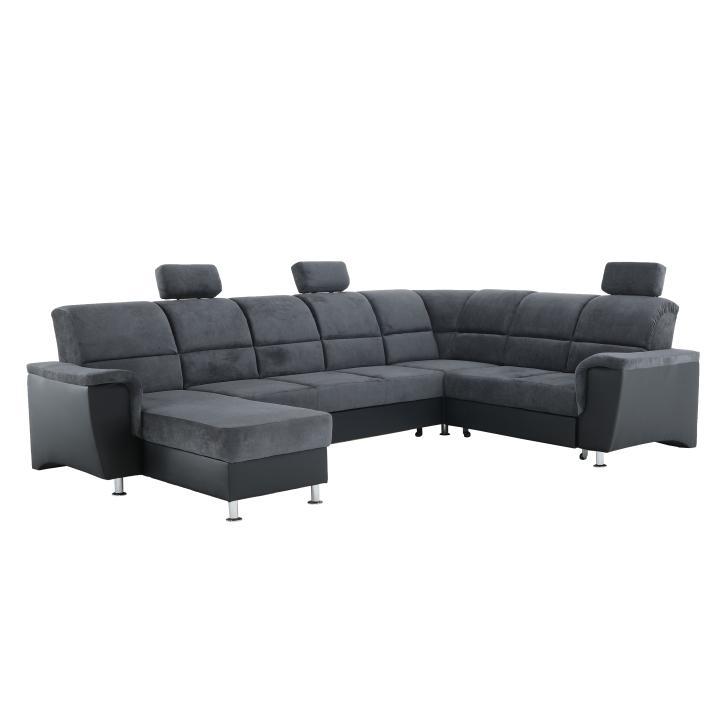 TEMPO KONDELA Santiago P rohová sedačka u s rozkladom a úložným priestorom sivá / čierna