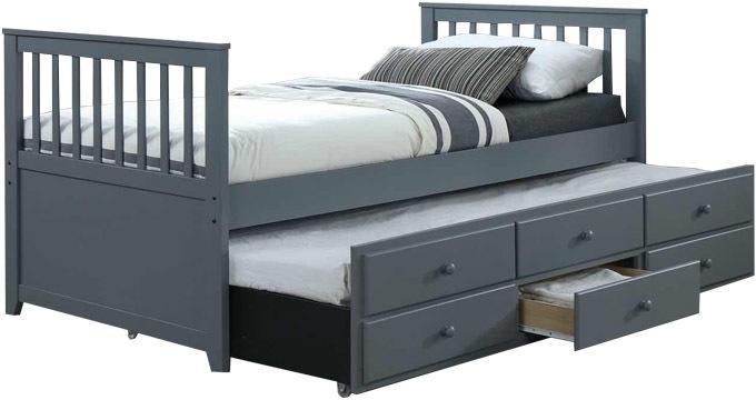 Tempo Kondela Sivá posteľ s prístielkou AUSTIN NEW 90 x 200 cm