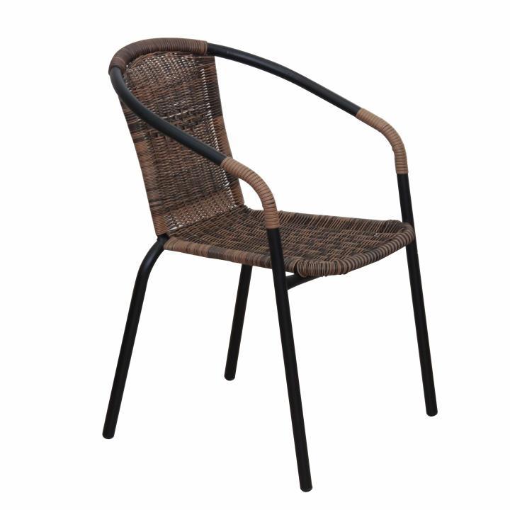 Kondela Stohovateľná stolička, DOREN, hnedá/čierny kov