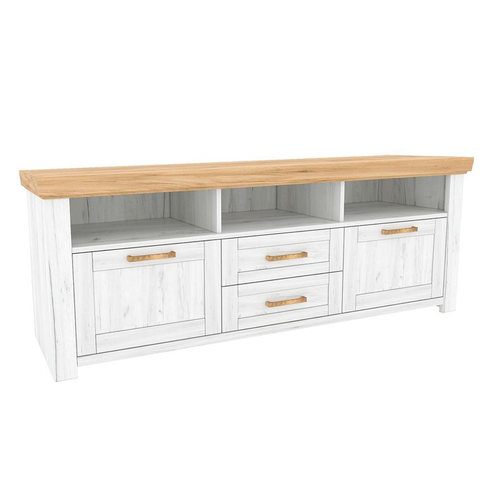 KONDELA Sudbury B tv stolík dub craft zlatý / dub craft biely