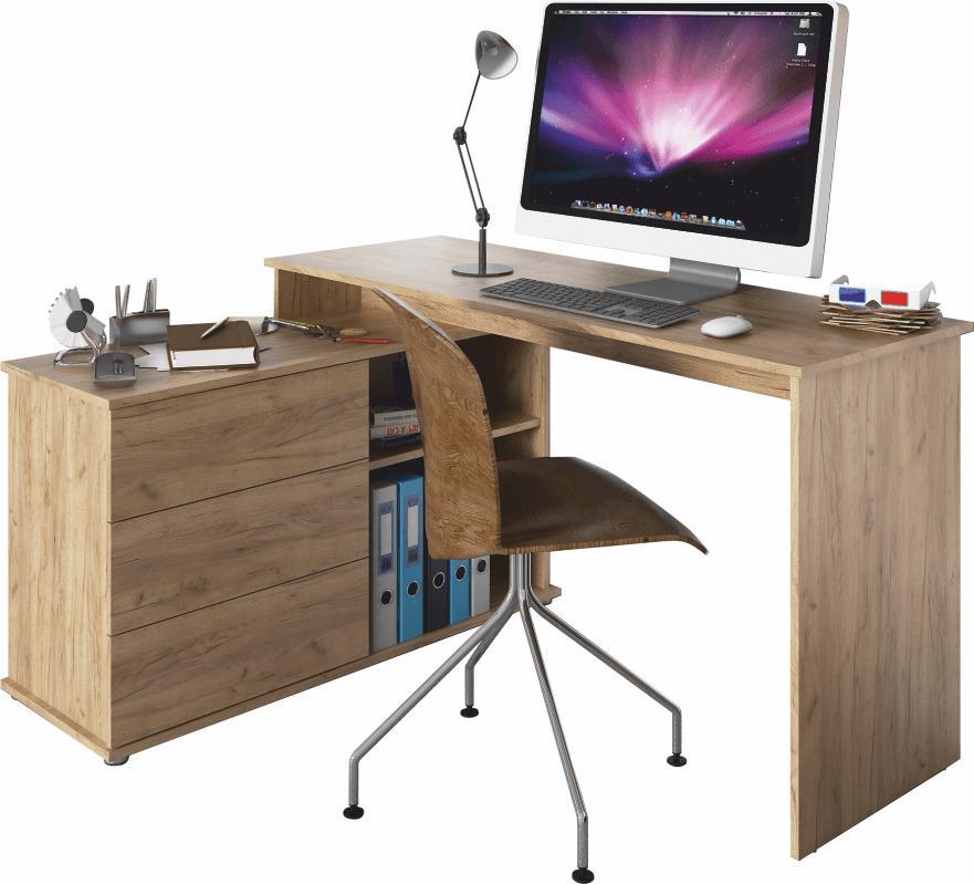 TEMPO KONDELA Univerzálny rohový PC stôl, dub artisan, TERINO