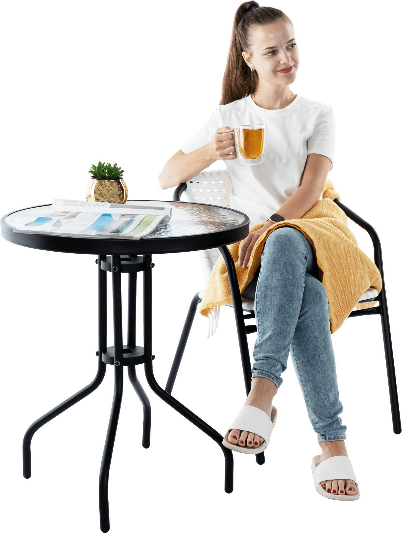 Tempo Kondela Záhradná stolička, biela/čierna, BERGOLA