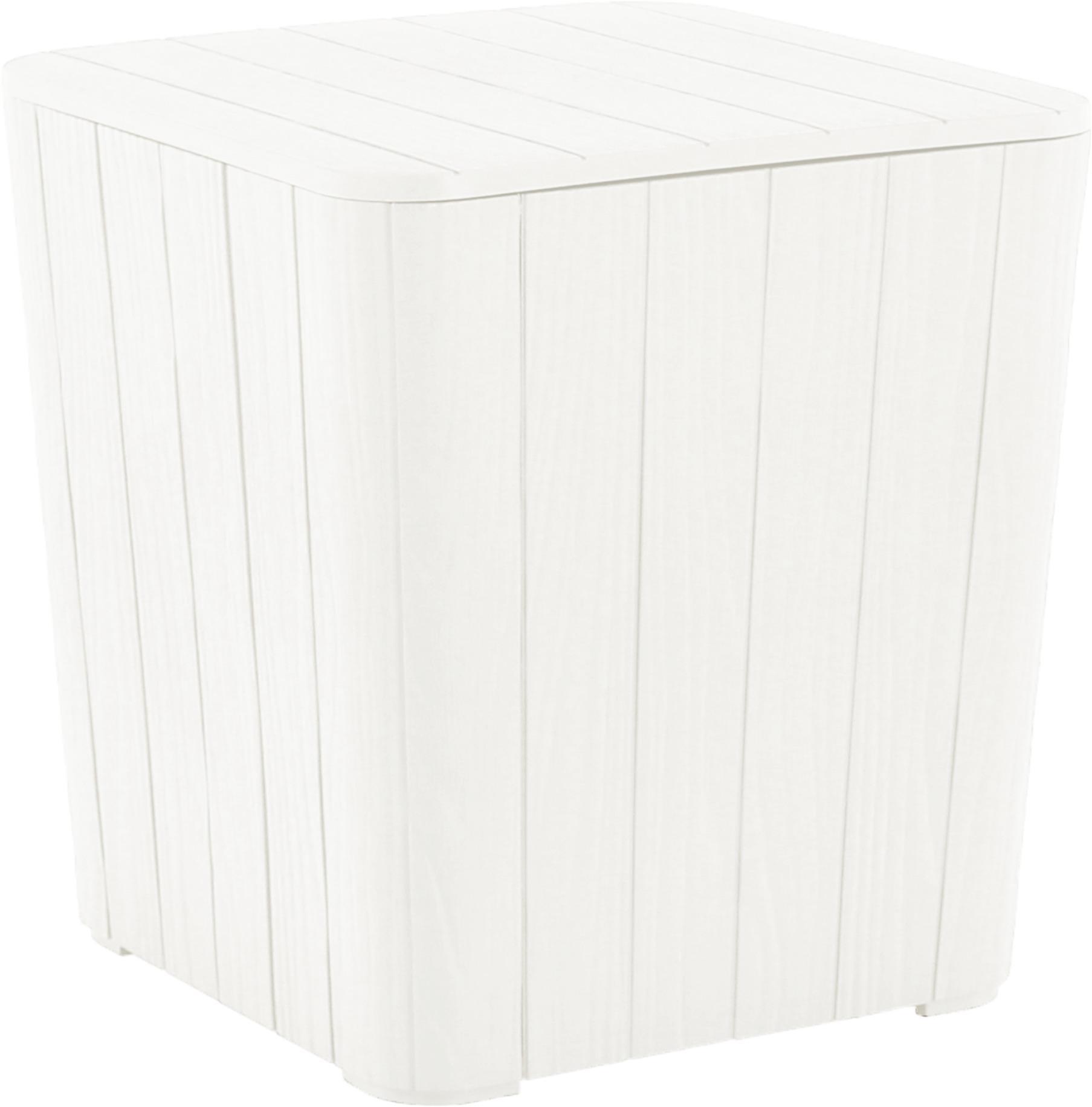 Tempo Kondela Záhradný úložný box/príručný stolík, biela, IBLIS