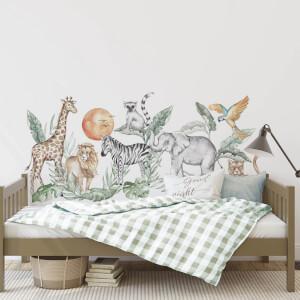 Textilná nálepka na stenu - SAFARI za posteľ