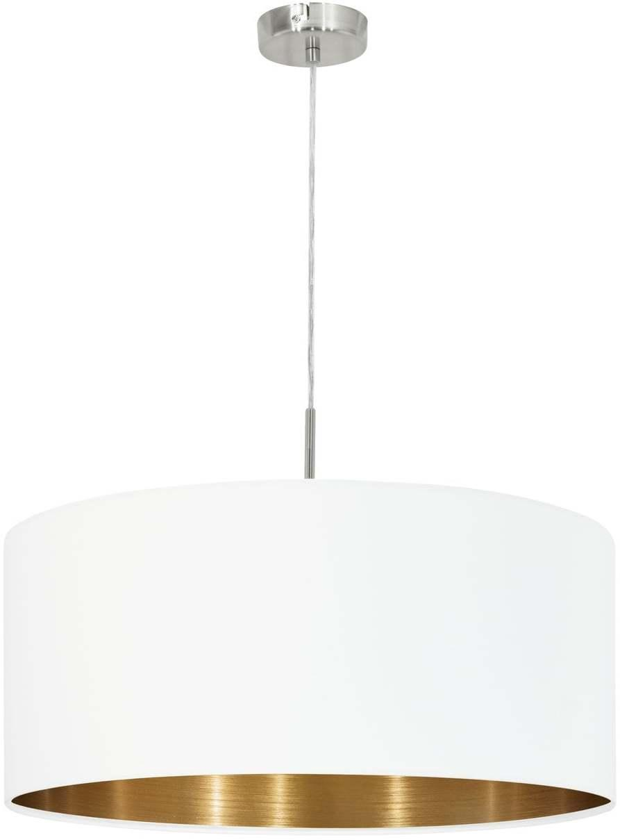 Textilné svietidlo EGLO PASTERI biela/matný nikel 95045