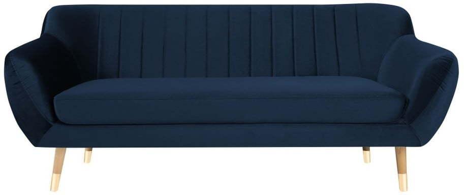 Tmavomodrá zamatová pohovka Mazzini Sofas Benito, 188 cm