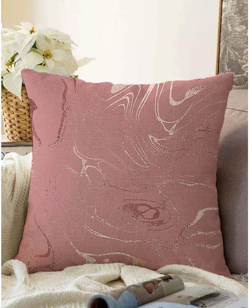 Tmavoružová obliečka na vankúš s prímesou bavlny Minimalist Cushion Covers Waves, 55 x 55 cm