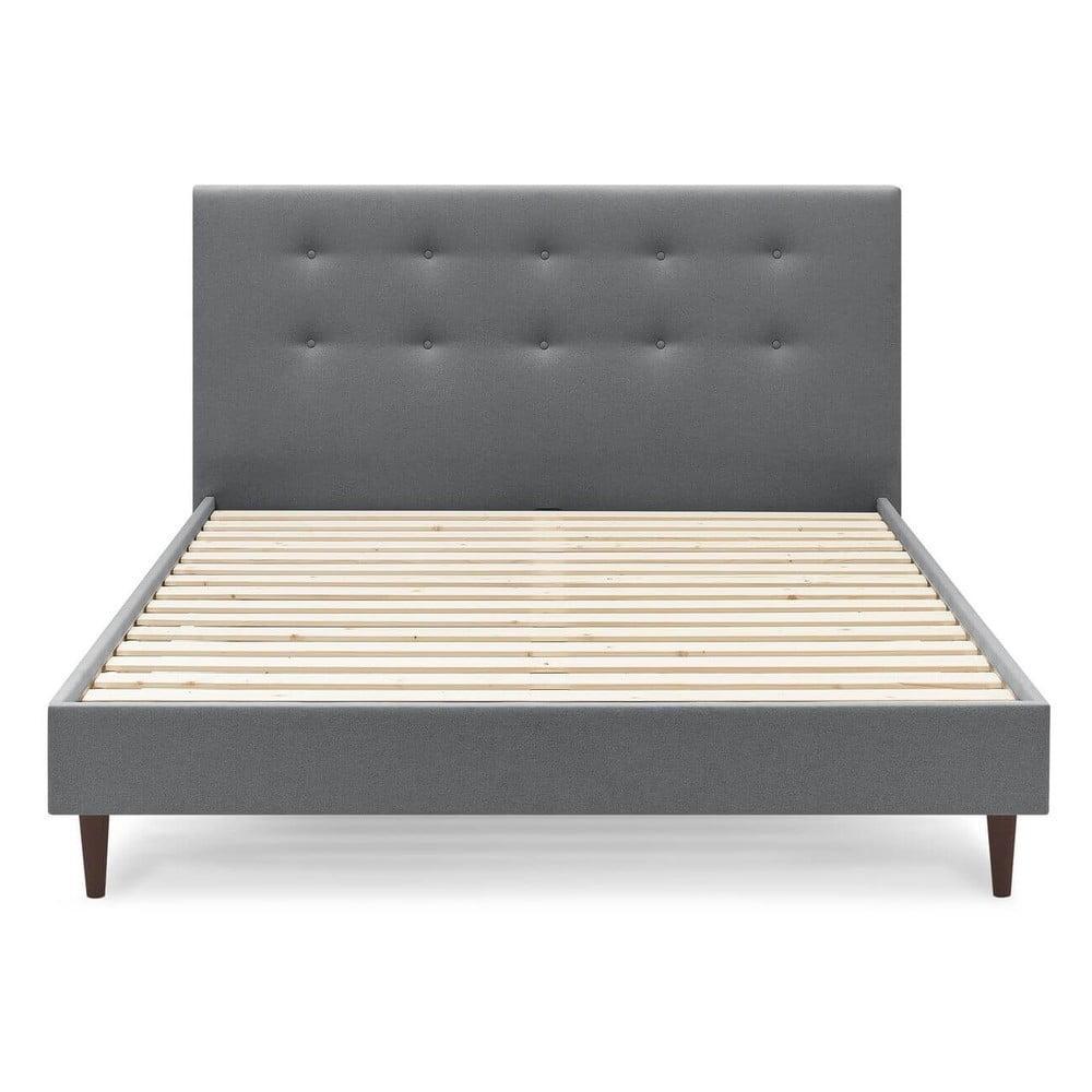 Tmavosivá dvojlôžková posteľ Bobochic Paris Rory Dark, 160 x 200 cm