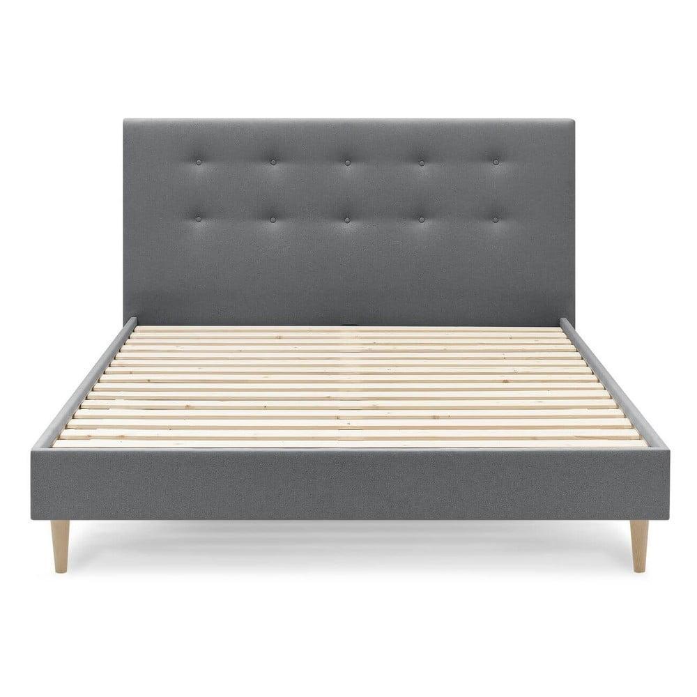 Tmavosivá dvojlôžková posteľ Bobochic Paris Rory Light, 180 x 200 cm