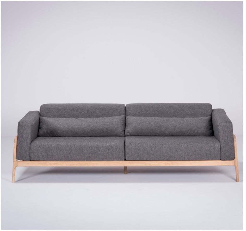 Tmavosivá pohovka s konštrukciou z dubového dreva Gazzda Fawn, 240 cm
