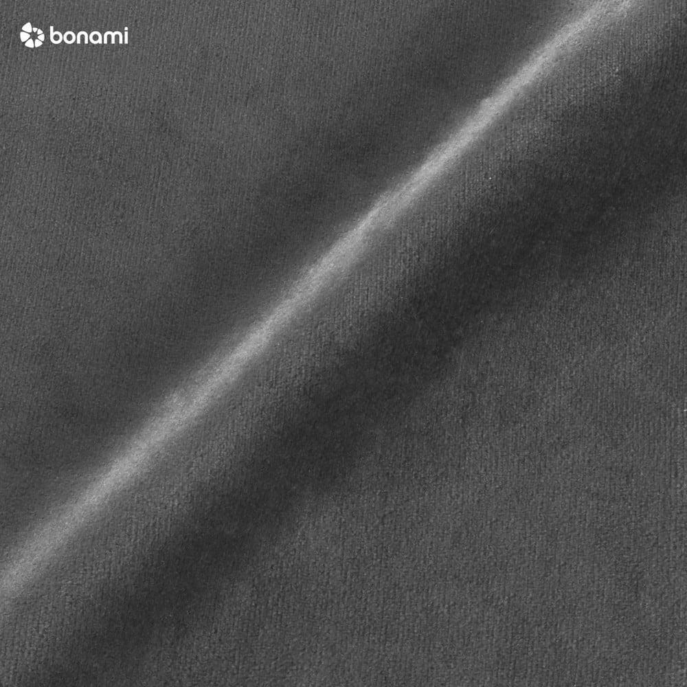 Tmavosivá zamatová leňoška s čiernymi nohami Kooko Home Lento, pravý roh
