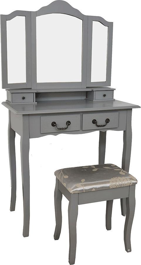 Toaletný stolík s taburetom, sivá/strieborná, REGINA NEW