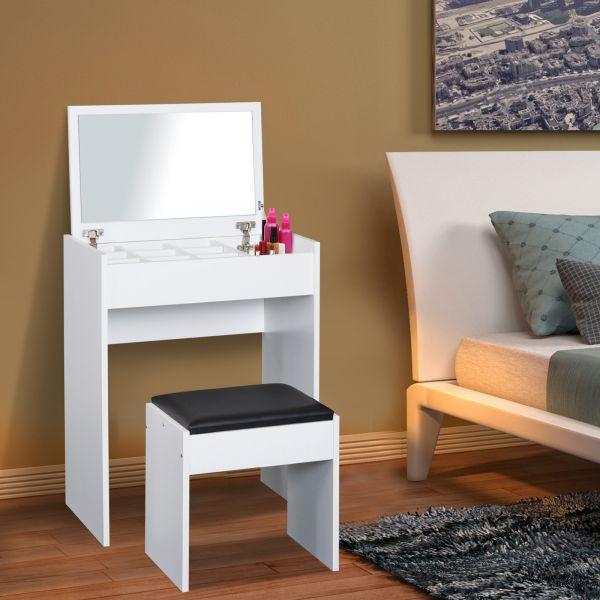 Toaletný stolík so stoličkou a vyklápacím zrkadlom Timea   biely