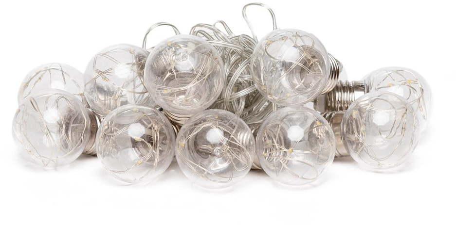 Transparentná svetelná reťaz s LED žiarovkami Luuka, 10 svetielok