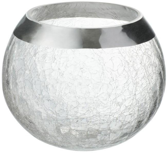 Transparentné sklenený okrúhly svietnik na čajovú sviečku so strieborným zdobením - Ø  15*12 cm
