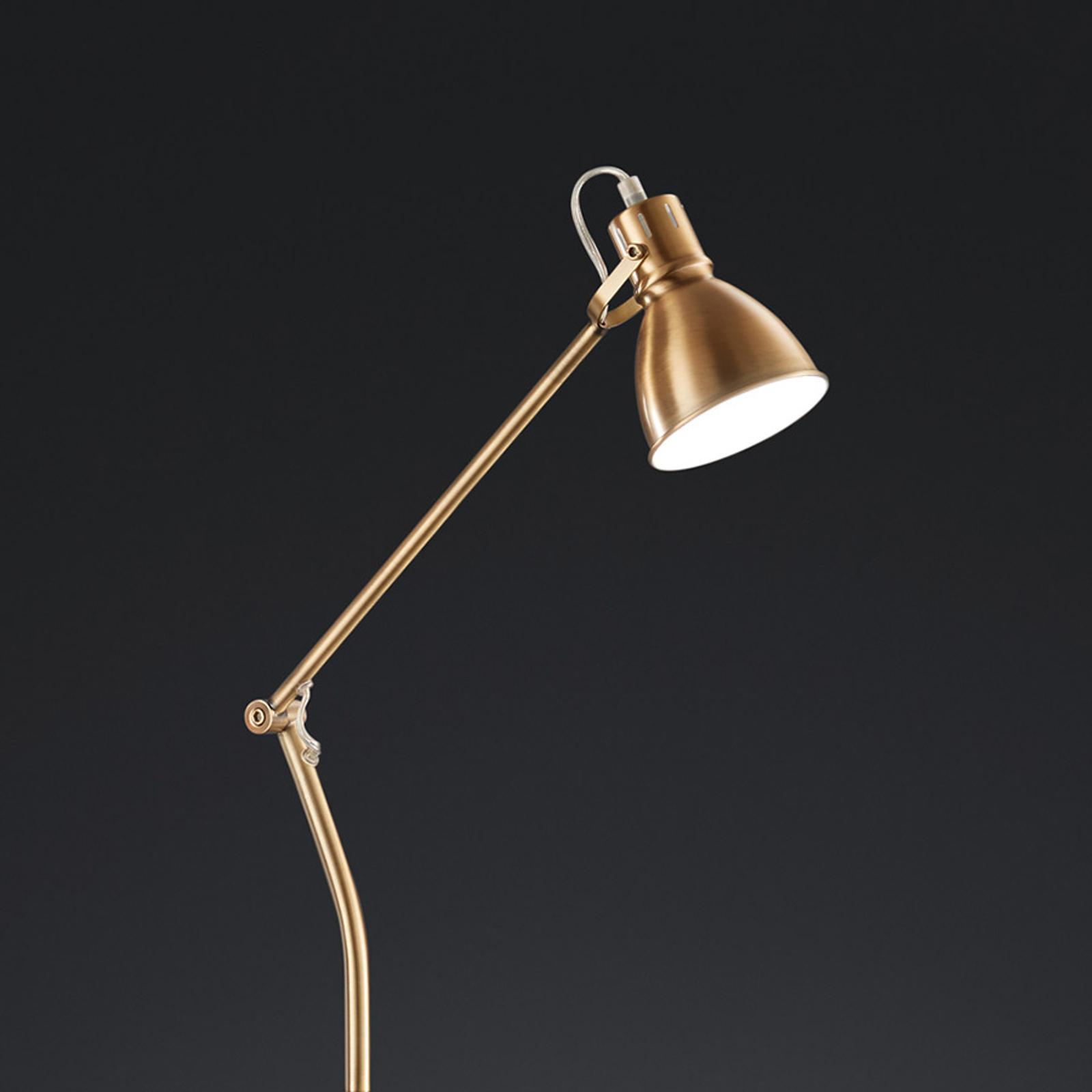 Trio Lighting Stojaca lampa Keali výškovo nastaviteľná mosadz