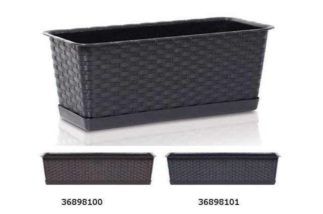 Truhlík s miskou RATOLLA CASE P čierny, 39,1x17,3x15cm, 6,3 l