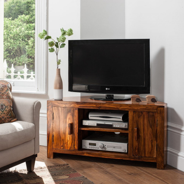TV stolík rohový masív Kali 110x70x50 indický masív palisander - Natural