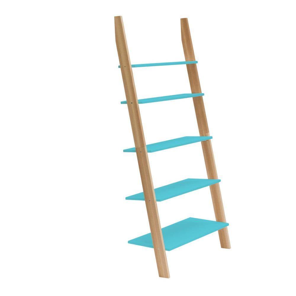 Tyrkysová rebríková polica Ragaba ASHME, šírka 85 cm
