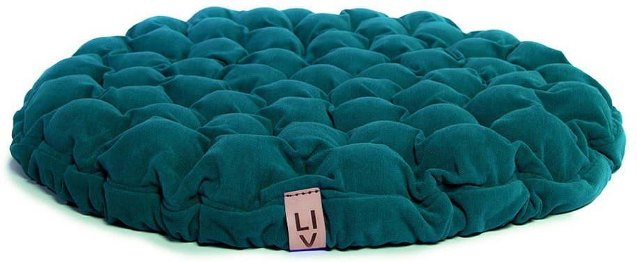 Tyrkysovomodrý sedací vankúšik s masážnymi loptičkami Linda Vrňáková Bloom, Ø 75 cm